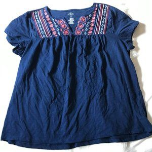 St John's Bay Embroidered Loose Fit BlueTop, Sz 1X